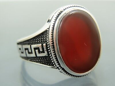 Turkish Handmade Jewelry 925 Sterling Silver Agate Stone Men's Ring Sz 11,5