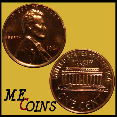 1961 Proof Lincoln Memorial Cent Penny, GEM , FREE SHIPPING!