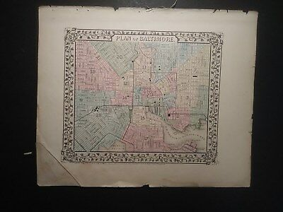 Original 1870 Mitchell Map Of The Plan Of Baltimore