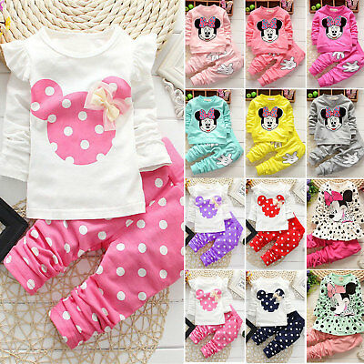 2PCS Kids Baby Girl Minnie Mouse Clothes T-shirt Tops + Pants Dress Outfits Sets