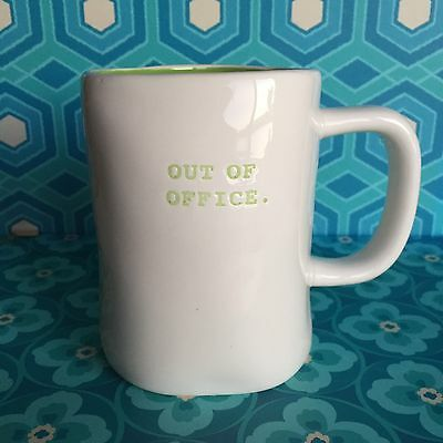 Rae Dunn Magenta Out of Office Mug Cup Lime Green Inside