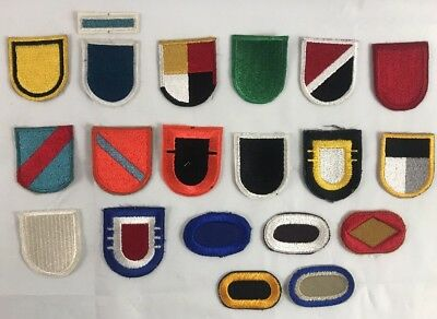 Vietnam Era US Army SF Special Forces Beret Flash & Oval Cut Edge Patch Lot