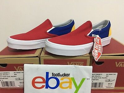 2018 Vans Slip-On Yacht Club Colorblocked Blue Red Yellow Green White Size 4-13