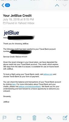 $1230 in JetBlue Airlines Ticket Credit