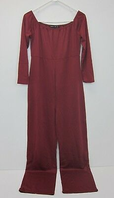 Boohoo Women's Maternity All Off Shoulder Tie Front Jumpsuit US 8 Berry  NWT
