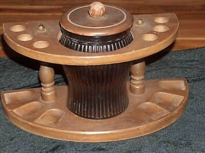 Walnut 6 Pipe Stand with VTG DUN-RITE WOOD NOV INC DURAGLAS Amber Glass Humidor