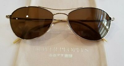 35dbf01ab63 Authentic Oliver peoples Aero Sunglasses Gold   Brown Polarized OV1005S  5035N6