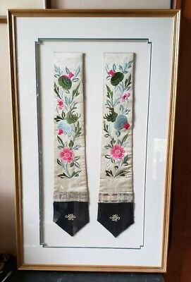 A Pair Of Fine Chinese Embroidered Silk Skirt Ornaments From Late Qing Dynasty