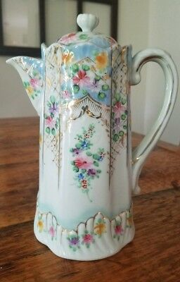 """Vintage Hand Painted Porcelain Chocolate Pot 8 3/4"""" Not Marked Flowers Gold"""