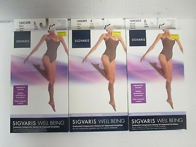 3 Pair Sigvaris Well Being Knee-High Sheer Fashion Hosiery Size A - Rc 6261