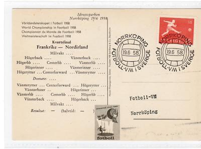 SWEDEN: 1958 Football World Cup postcard with special postmark (C37557)