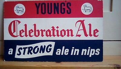 A Vintage Advertising Cardboard Show Card for Youngs Celebration Ales.