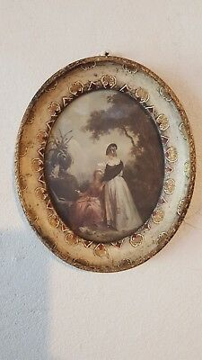 Antique Hilair Reading Print Wood Painted Frame Oval Made In Italy 13cm x 11cm
