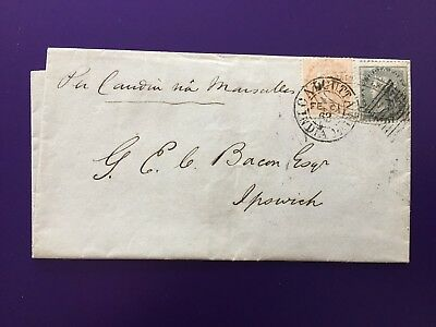 India 1863 Cover to Ipswich, England Postmark Interest - Please see desc/photos