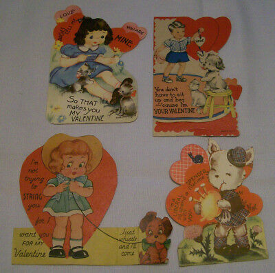 Vintage Valentine cards lot of 4 boy girls cats dogs