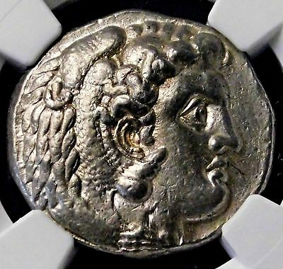 NGC AU 4/5-3/5. Alexander the Great. Outstanding Tetradrachm. Greek Silver Coin.