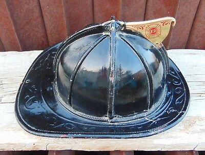 NR 1960s Cairns Leather New Yorker Firemans Helmet Fire Fighters Hat Original