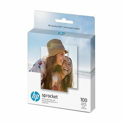 HP Sprocket ZINK sticky-backed Photo Paper 1DE40A, 2 x 3 inches, 100 sheets, NEW