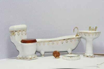 Dollhouse Miniature 1:12 Bathroom Furniture Set Trimmed in Gold