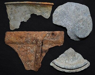 Lot of 4 Ancient Viking LARGE Dishes, Bowls & Cups Pieces Fragments, 950-1100 Ad