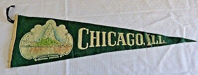 "Vintage Chicago Illinois Pennant 25"" x 8"" Travel Souvenir The Windy City"