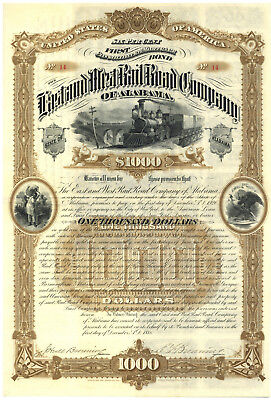 East and West Railroad Company of Alabama. Bond Certificate.