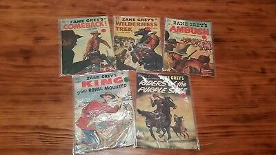 Lot of 5 Zane Grey Comics Golden Age Assorted Good Condition