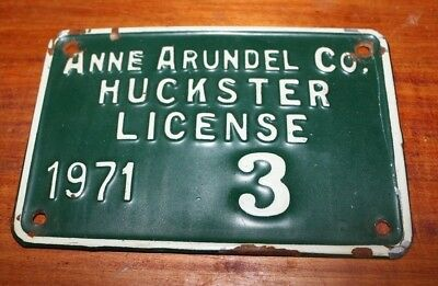 1971 HUCKSTER LICENSE PLATE, Anne Arundel County MD #3 Lucky #3 4x6