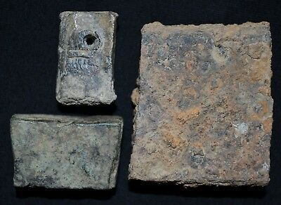 Group of 3 Ancient Viking Scale / Trading weights, c 950-1000 Ad. Bronze & Iron