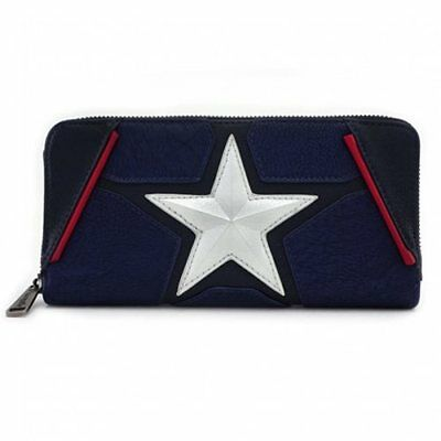 Nwt Loungefly Captain America Cosplay Zip Around Wallet