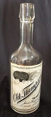 OLD THOMPSON Whiskey Antique Back Bar Bottle~RARE Advertising Painted Label