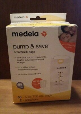 New medela pump and save breast milk bags 50 count 2 CT with adaptor