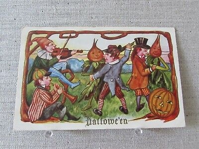 1909 Vintage Halloween Postcard Pumpkin Embossed Dancing Vegetables Elves