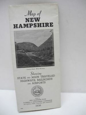 1938 Map of New Hampshire with Highways, Railroads and Airports