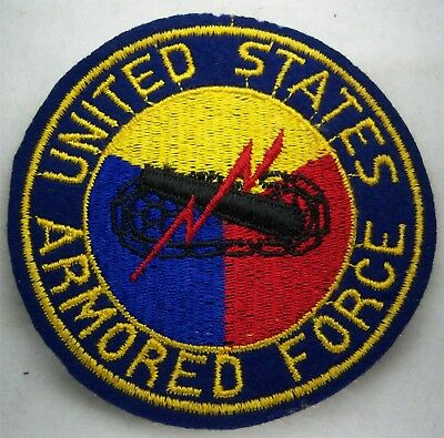 Original:   WW2   Armored Forces blue wool jacket patch