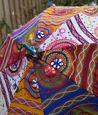 """Indian embroidered, patchwork parasol/sunshade. Cotton. 26""""."""