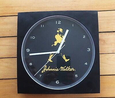 "Johnnie Walker Wall Clock Battery Operated Advertising Bar Man Cave 10"" Works"