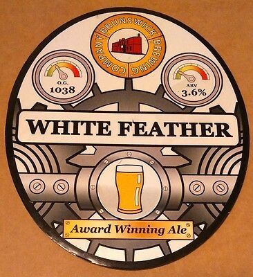 Beer pump badge clip BRUNSWICK (Derby) brewery WHITE FEATHER ale pumpclip front