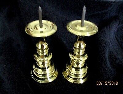 Pair Colonial Williamsburg Virginia Metalcrafters spike candle holders .