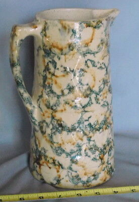 Antique Salt Glazed stoneware yellowware yellow ware sponge decorated Pitcher