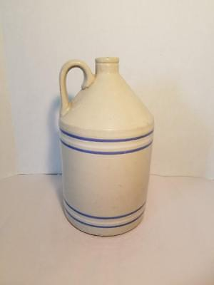 Antique Toronto Potter Stoneware Crock Jug Blue White Pin Stripe