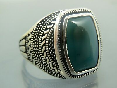 Turkish Handmade Jewelry 925 Sterling Silver Agate Stone Men's Ring Sz 12,5