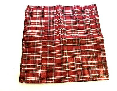 "Red Green Plaid Napkins x 4 - Glitter Thread 18x18"" Square Christmas Holiday"