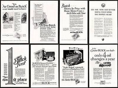 1926 BUICK Lot of 8 Vintage Antique Print Advertisement AD Collector Archive