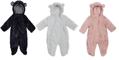 Girls boys Faux Fur Hooded Snowsuit  with hood All In One Snow suit 0-12 month