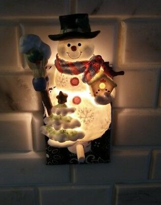 LOT OF FOUR (4) Christmas Snowman Nightlight Diffuser Porcelain GORGEOUS HAPPY!