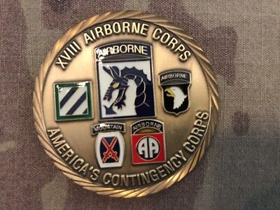 Challenge Coin US Army XVIII Airborne Corps presented by Command Sergeant Major