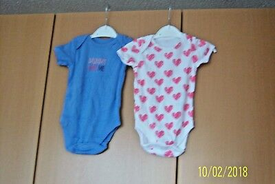 2 New Baby Bodysuits 6 - 9 Month Short Sleeves White & Red Hearts & Blue Bnwot
