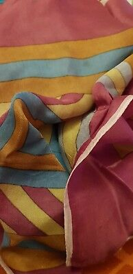 Vintage pretty scarf 1950s geometric design oranges  rolled edges possibly silk