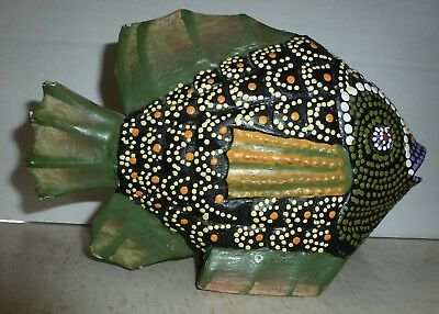Vintage Wooden Carved Fish Sculpture Folk Art Hand Painted Green Black Yellow